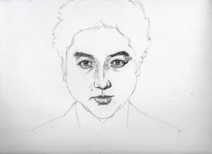 ムロツヨシの鉛筆画似顔絵途中経過