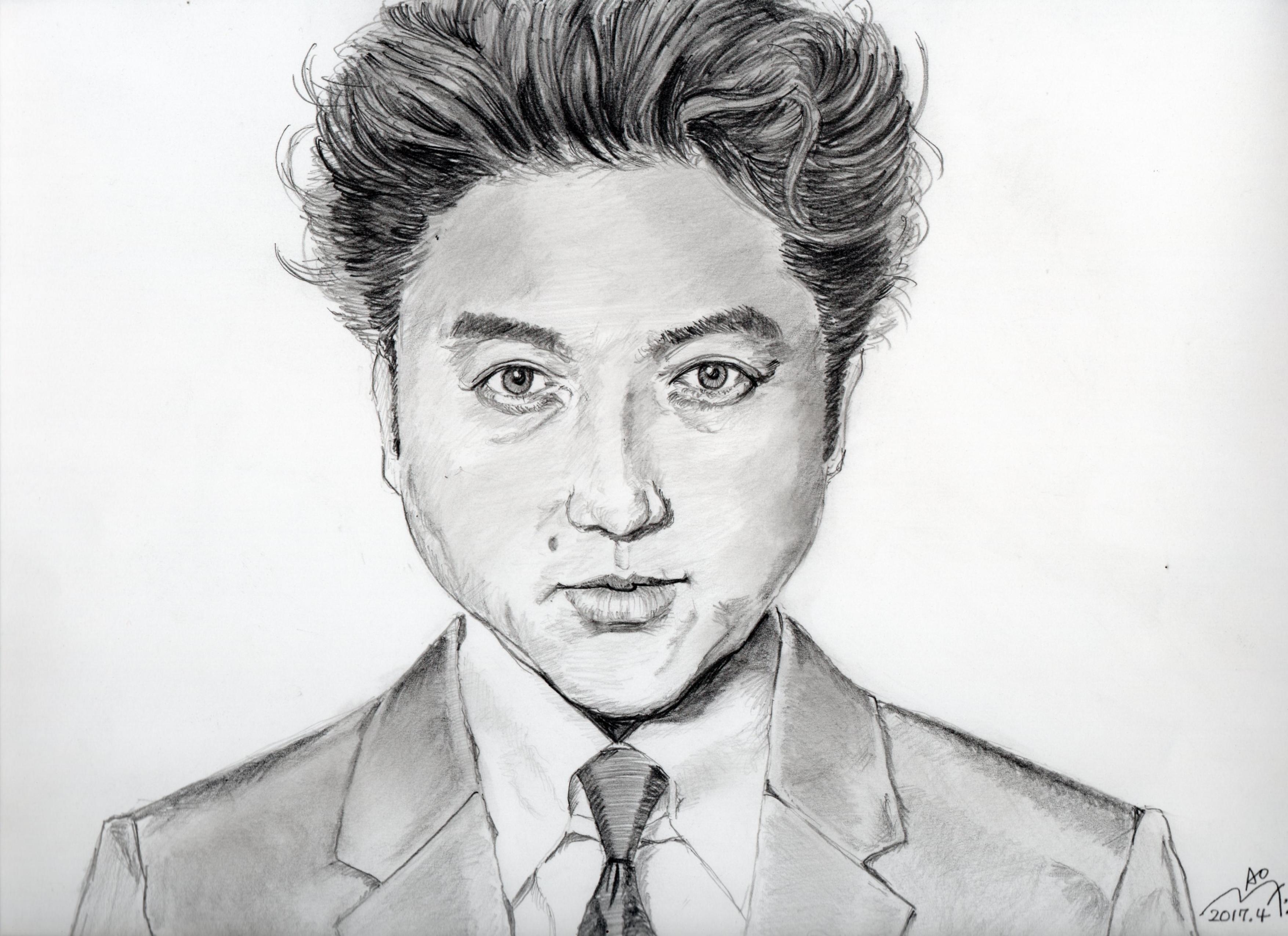 ムロツヨシの鉛筆画似顔絵