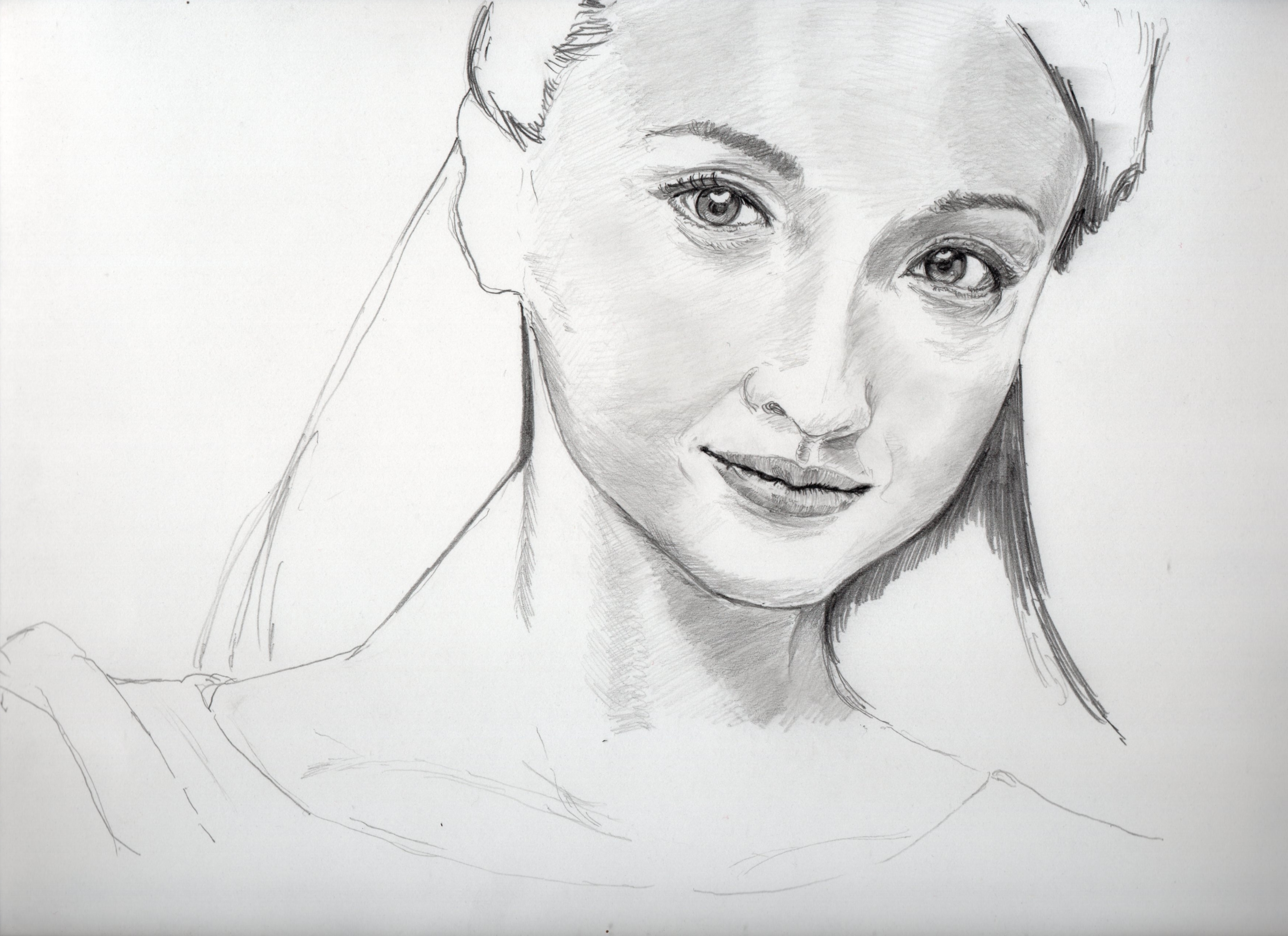 沢尻エリカ鉛筆画似顔絵途中経過