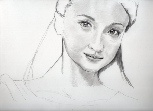 沢尻エリカの鉛筆画似顔絵途中経過
