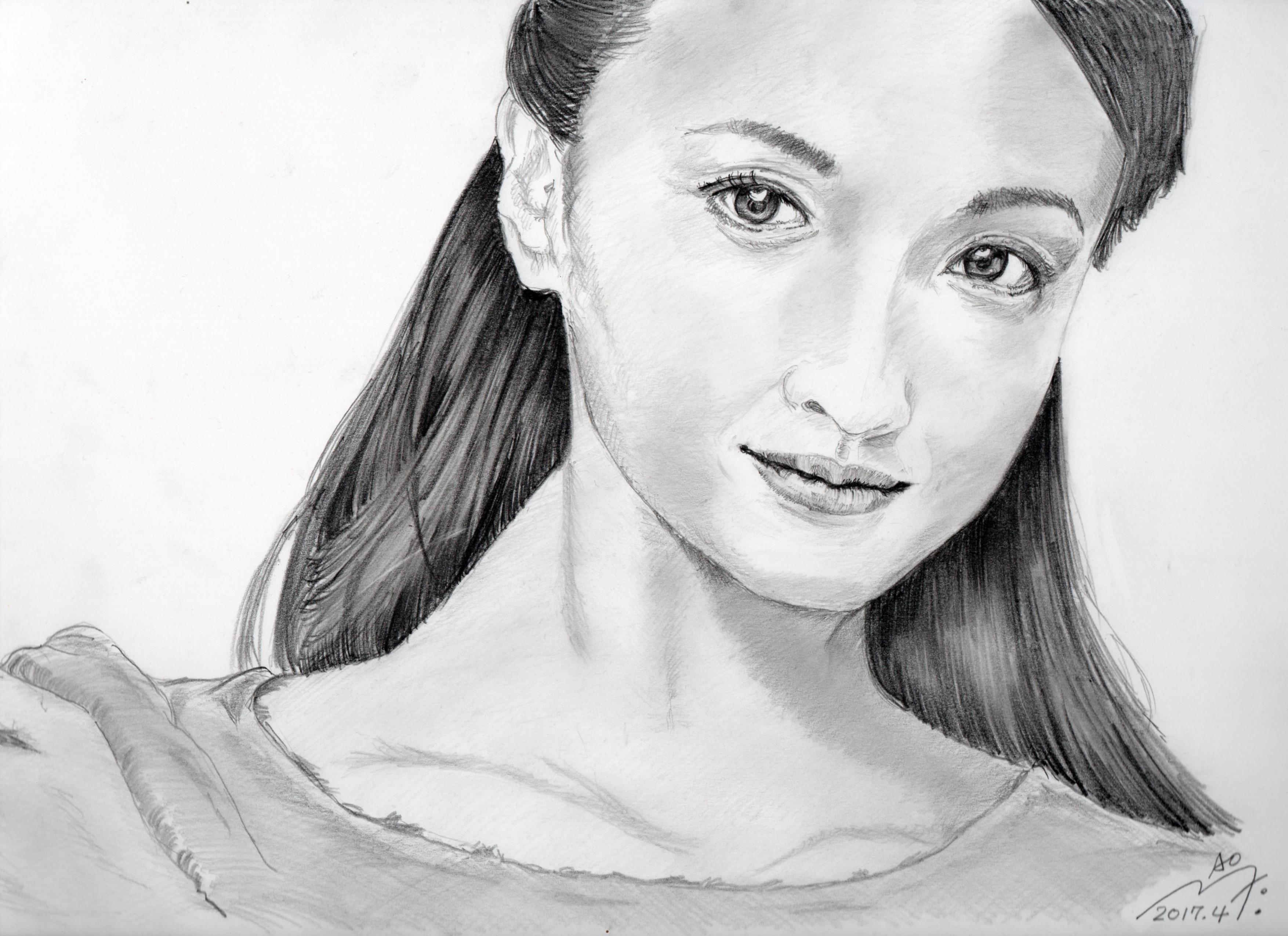 沢尻エリカの鉛筆画似顔絵