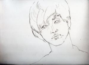 松坂桃李の鉛筆画似顔絵途中経過