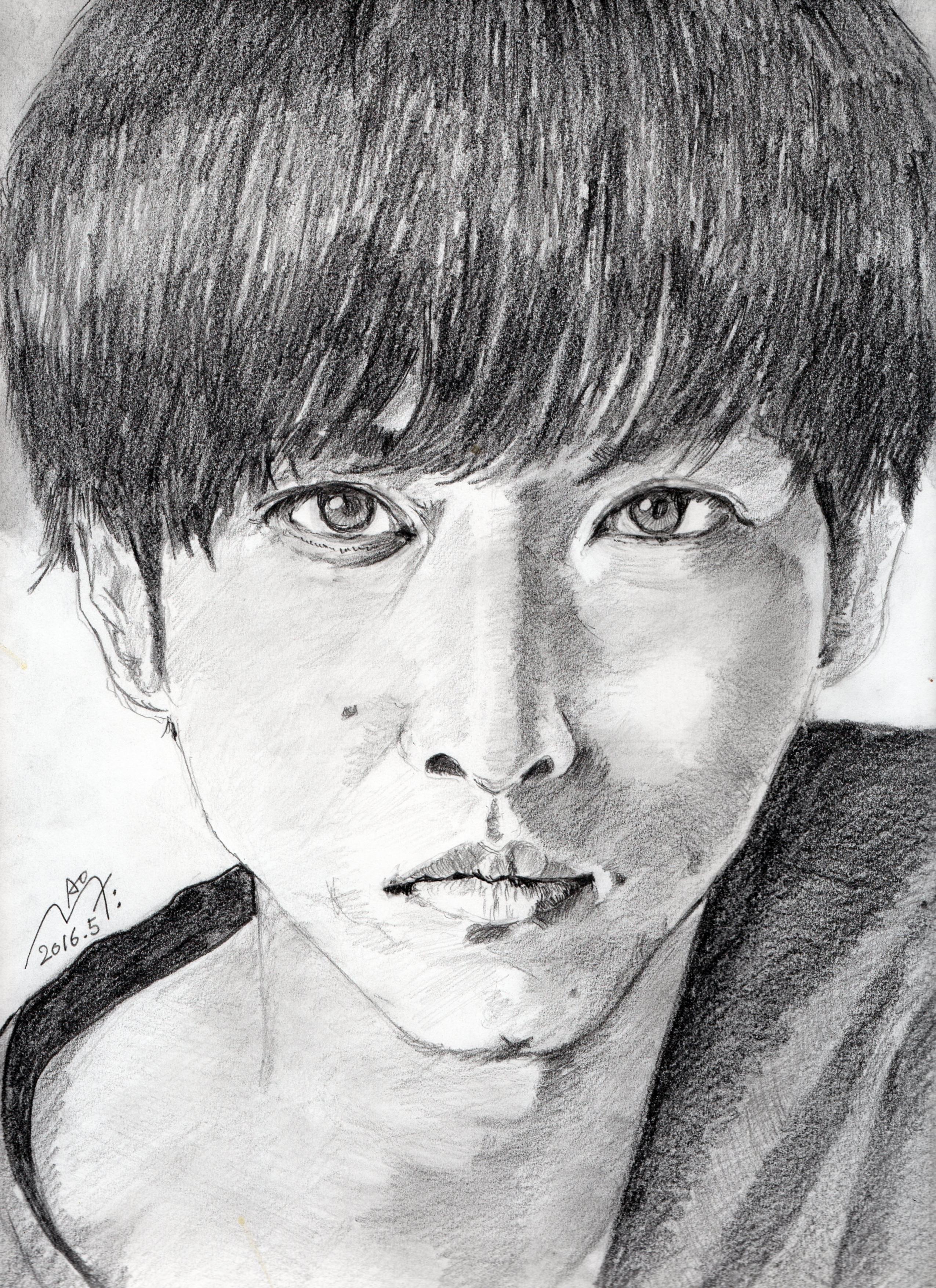 松坂桃李の鉛筆画似顔絵