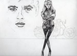 マリアンヌ・フェイスフル鉛筆画似顔絵途中経過