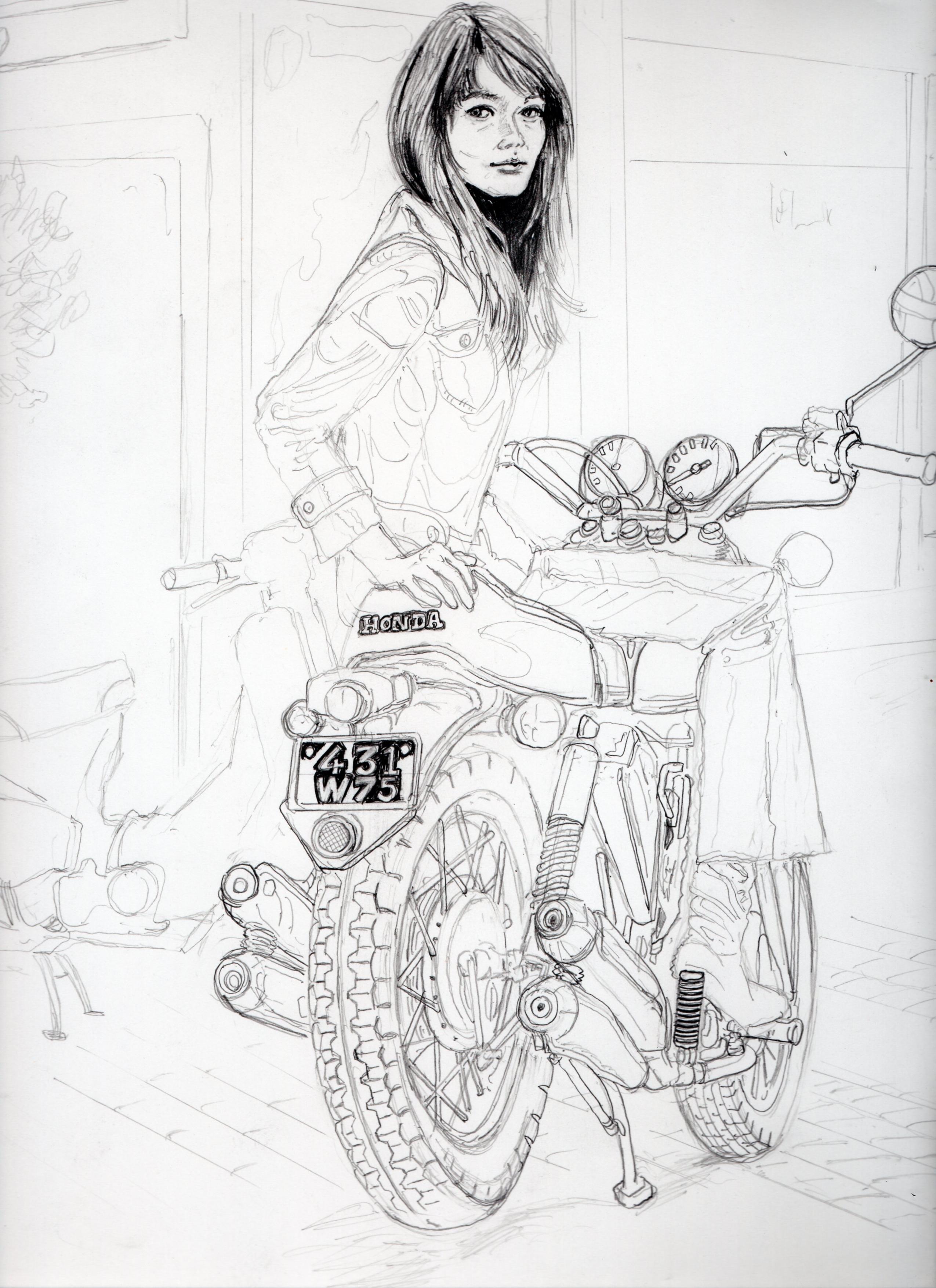 フランソワーズ・アルディの鉛筆画似顔絵途中経過