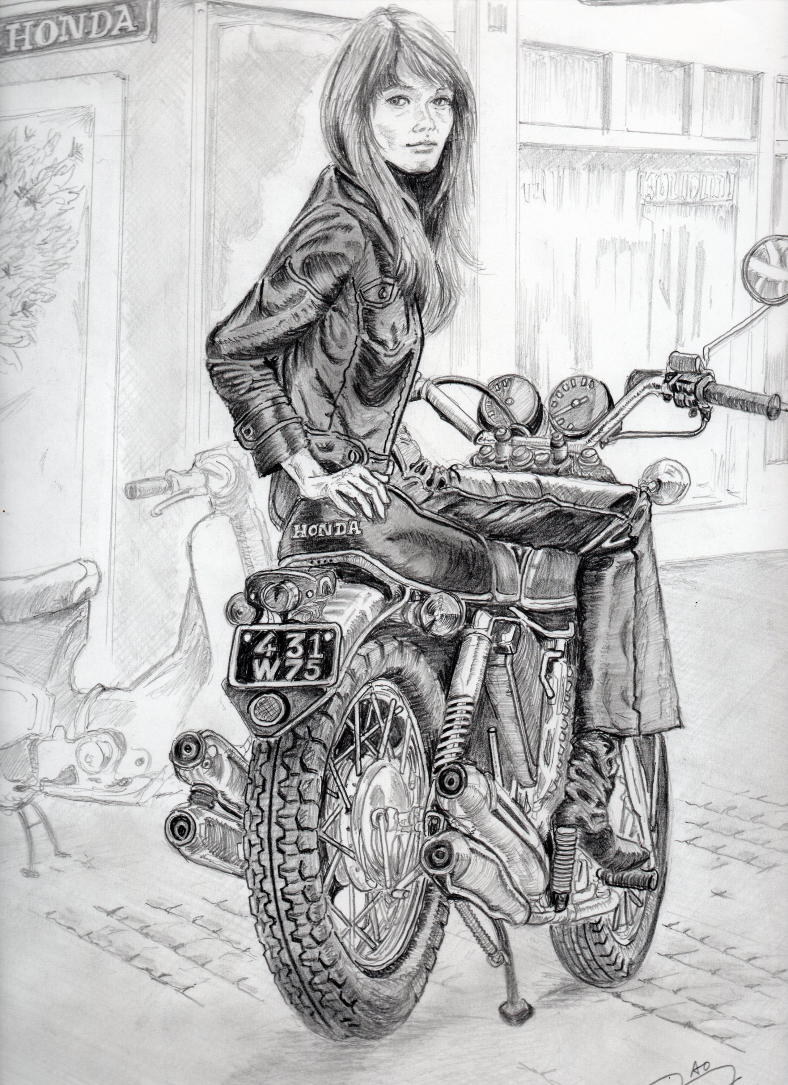 フランソワーズ・アルディ鉛筆画似顔絵