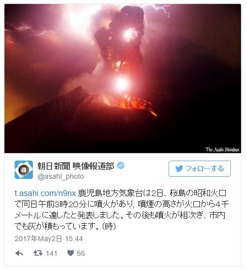 【活発化】桜島の昭和火口から噴火…噴煙の高さは4000メートルに達する